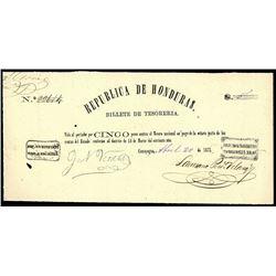 Comayagua, Honduras, Republica de Honduras, 5 pesos, 20-4-1873, serial 22614.