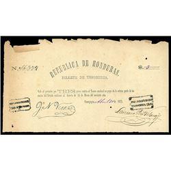 Comayagua, Honduras, Republica de Honduras, 3 pesos, 20-4-1873, serial 16377.