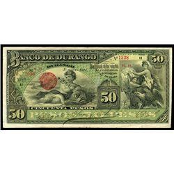 Durango, Mexico, Banco de Durango, 50 pesos, 1-3-1914, series H, serial 1538.