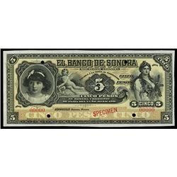 Hermosillo, Mexico, Banco de Sonora, 5 pesos specimen, no date (1897-99), white reverse.