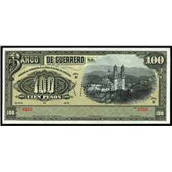 Iguala, Mexico, Banco de Guerrero, 100 pesos remainder, 19XX (1906-14), series B, serial 6250.
