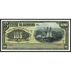 Iguala, Mexico, Banco de Guerrero, 100 pesos remainder, 19XX (1906-14), series B, serial 6250.