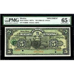 Merida, Mexico, Banco Mercantil de Yucatan, 5 pesos specimen, 190X (1900-13), series H, PMG Gem UNC