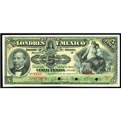 Mexico City, Mexico, Banco Londres y Mexico, 5 pesos specimen, 19XX (1900-13), series F.