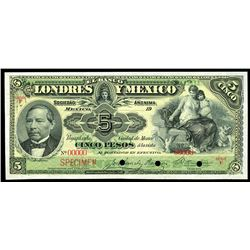 Mexico City, Mexico, Banco Londres y Mexico, 5 pesos specimen, 19XX (1900-13), series F.