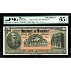 Monterrey, Mexico, Banco Mercantil, specimen 50 pesos, no date (1900-07), CORRIENTE variety, PMG Gem