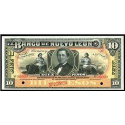 Monterrey, Mexico, Banco de Nuevo Leon, 10 pesos specimen, 18XX (1895-1913).