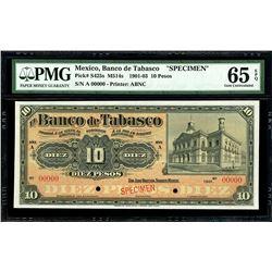 San Juan Bautista, Mexico, Banco de Tabasco, 10 pesos specimen, 1901, series A, PMG Gem UNC 65 EPQ.