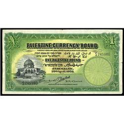 Jerusalem, Palestine, Palestine Currency Board, 1 pound, 20-4-1939, serial S245980.