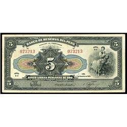 Lima, Peru, Banco Central, 50 soles (1935) overprint on Banco de Reserva, 5 libras, 11-8-1926, serie