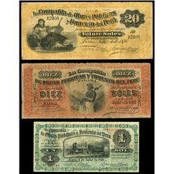 Lot of three Lima, Peru, Compania de Obras Publicas y Formento del Peru, 4-7-1876, series A notes: 2
