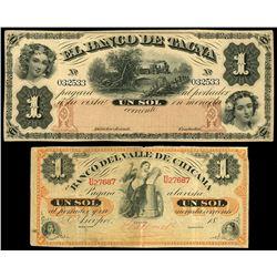 Lot of two Peru notes: Tacna, Peru, Banco de Tacna, 1 sol remainder, no date (1870), serial 032533;