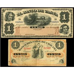 Lot of two Peru notes: Tacna, Peru, Banco de Tacna, 1 sol remainder, no date (1870), serial 032533;