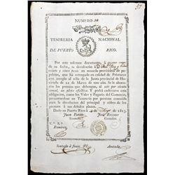 Puerto Rico, National Treasury, 25 pesos (provisional promissory note), 4-5-1813, serial 56.