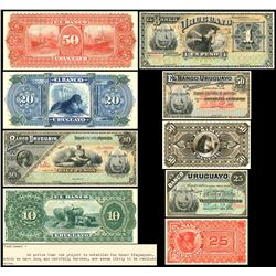 Lot of nine Uruguay, Banco Uruguayo, pattern proof notes, 1884, with accompanying ABNCo documents, e