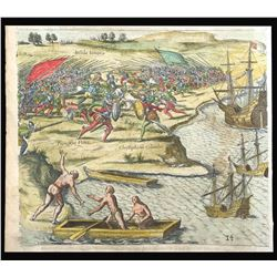 German copperplate engraving by Theodore de Bry showing a battle between Christopher Columbus and Fr