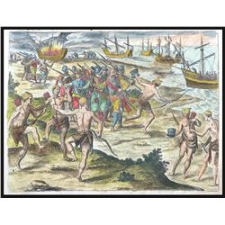 German copperplate engraving by Theodore de Bry showing Francis Drake encountering natives around th