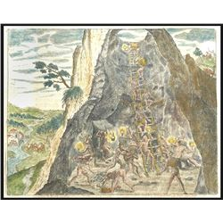 German copperplate engraving by Theodore de Bry showing natives working the mine inside the mountain