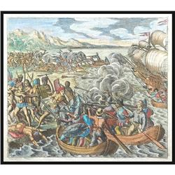 German copperplate engraving by Theodore de Bry showing Amerigo Vespucci attacking natives in South