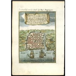 Small copperplate engraving of a city plan of Santo Domingo, Hispaniola, by A.M. Mallet (1683), hand