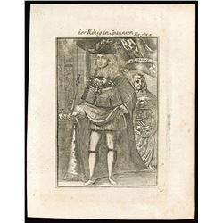 """French copperplate engraving of King Charles II of Spain by A.M. Mallet titled """"der Konig in Spannie"""