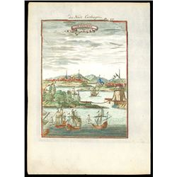 Small copperplate engraving of Cartagena (Colombia) by A.M. Mallet (published 1719), hand colored.