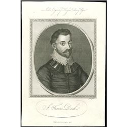 English intaglio engraving of Sir Francis Drake, dated August 9, 1786 (London).