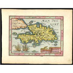Small, Dutch, copperplate-engraved map of Hispaniola by Jocodus Hondius in an atlas by Petrus Bertiu