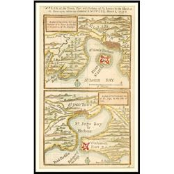 """English map of """"St. Louis"""" (Haiti) and """"St. Jago"""" (Santiago, Cuba), dated 1748, hand colored."""