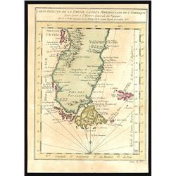 French copperplate-engraved map of Cape Horn and the Strait of Magellan (tip of South America with C