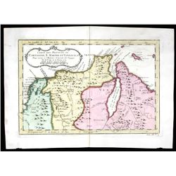 French copperplate-engraved map of Colombia (Cartagena) and Venezuela (with islands of Aruba, Curaca