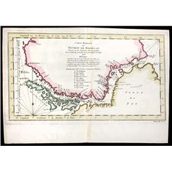 French copperplate-engraved map of the Strait of Magellan (Chile) by Jacques Nicolas Bellin titled ""