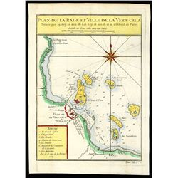"""French copperplate-engraved map of Vera Cruz (Mexico) by Jacques Nicolas Bellin titled """"Plan de la R"""