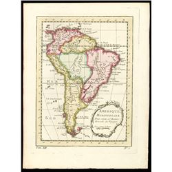 French copperplate-engraved map of entire South American continent by Jacques Nicolas Bellin titled