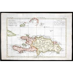 """French copperplate-engraved map of Hispaniola (St. Domingue) by Rigobert Bonne titled """"Carte de L'Is"""
