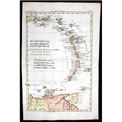 "French copperplate-engraved map of the Lesser Antilles by Rigobert Bonne titled ""Carte des Isles Ant"