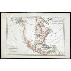 French copperplate-engraved map of colonial North and Central America and the Caribbean by Rigobert