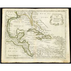 """French copperplate-engraved map of the Gulf of Mexico by Joseph de La Porte titled """"Golfe du Mexique"""