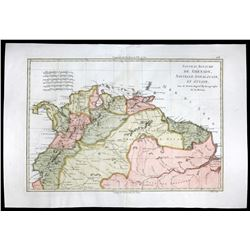 French copperplate-engraved map of South America by Rigobert Bonne titled  Nouveu Royaume De Grenade