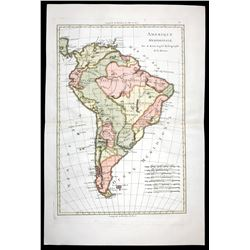 "French copperplate-engraved map of the entire South American continent by Rigobert Bonne titled ""Ame"