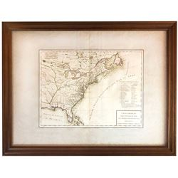 "Large, French, ca.-1787 copperplate-engraved map of the early United States titled ""Carte Generale d"