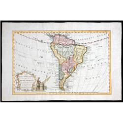 Small English map of South America (maker unknown), 1700s, hand colored.