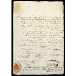 """Portuguese letter (""""sea passport"""") from 1593 warranting safe passage from Lisbon to Venice, w/ seal"""
