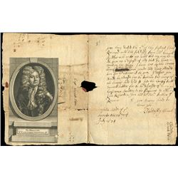 Letter to John Butler from Sir Cloudesly Shovell, the British admiral involved in the 1707 Scilly Di