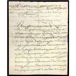French letter from the ship Le Juste from Cadiz to Marseille dated 1733.