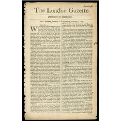 Lot of seven issues of The London Gazette (various dates from 1667 to 1698).