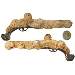 """Encrusted pistol with """"dogface"""" butt, from an unidentified 1500s Yucatan wreck."""