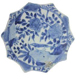 Chinese blue-on-white porcelain kraak bowl medallion, bird-on-rock motif, Ming Dynasty, Wanli Period