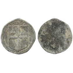 """Large lead cloth-bale seal with London arms and DE..LONDI..NO. above, from the """"Bramble wreck"""" (mid-"""