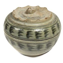 "Chinese blue-on-white porcelain round, lidded box, intact, from the ""Vung Tao Wreck"" (ca. 1690)."